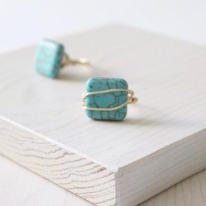 HANDMADE / LucyMint Turquoise Wire Wrapped Ring